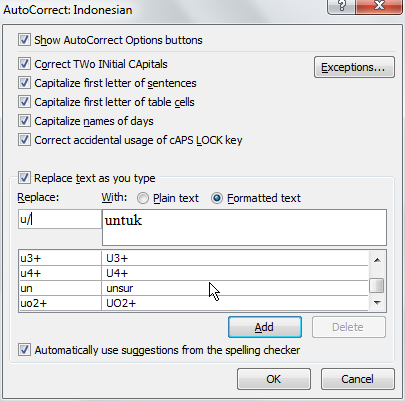 how to add formatted text to autocorrect libre