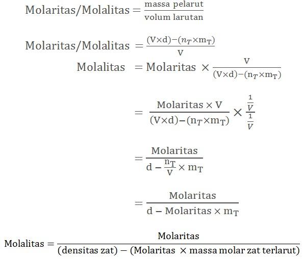 molaritas molalitas dan densitas