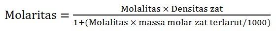 rumus hubungan molaritas molalitas dan densitas 2