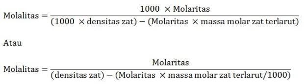 rumus hubungan molaritas molalitas dan densitas
