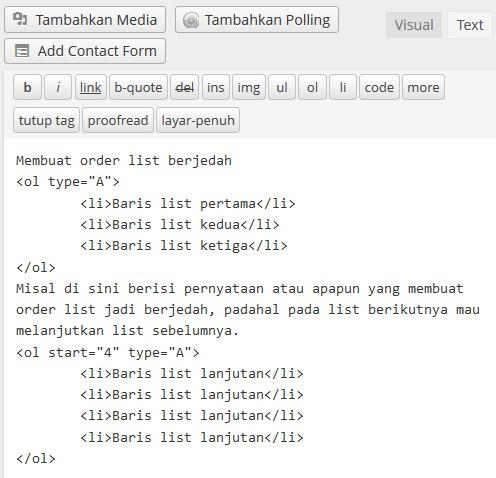 order list berjedah tipe ABC html