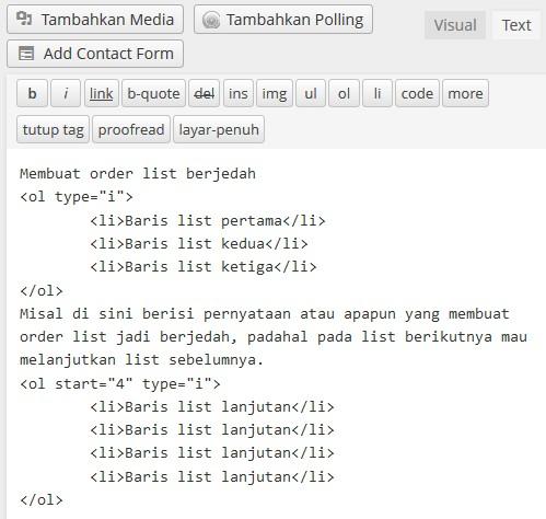 order list berjedah tipe i html
