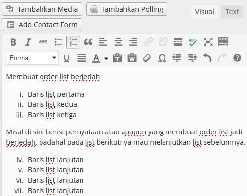 order list berjedah tipe i