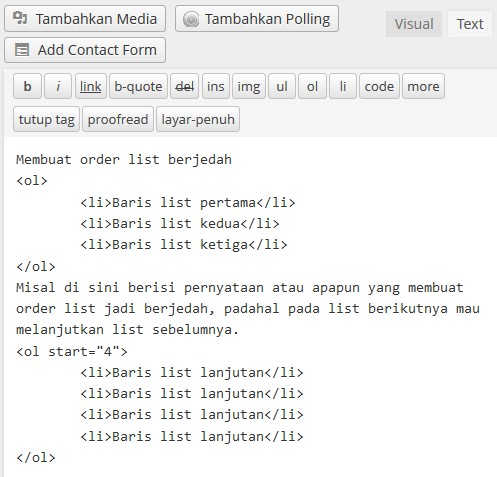 order list berjedah tipe standar html