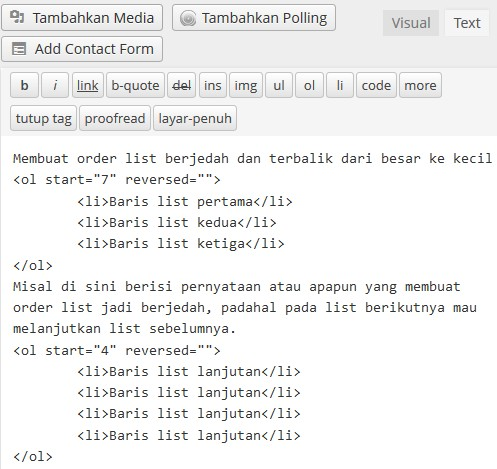order list berjedah tipe standar terbalik html