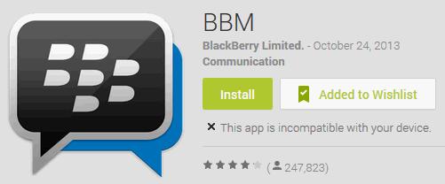 bbm belum support untuk tablet samsung