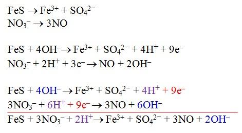 redoks FeS metode setengah reaksi